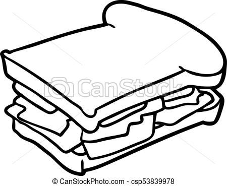 450x369 Collection Of Free Sandwich Clipart Line Drawing Amusement
