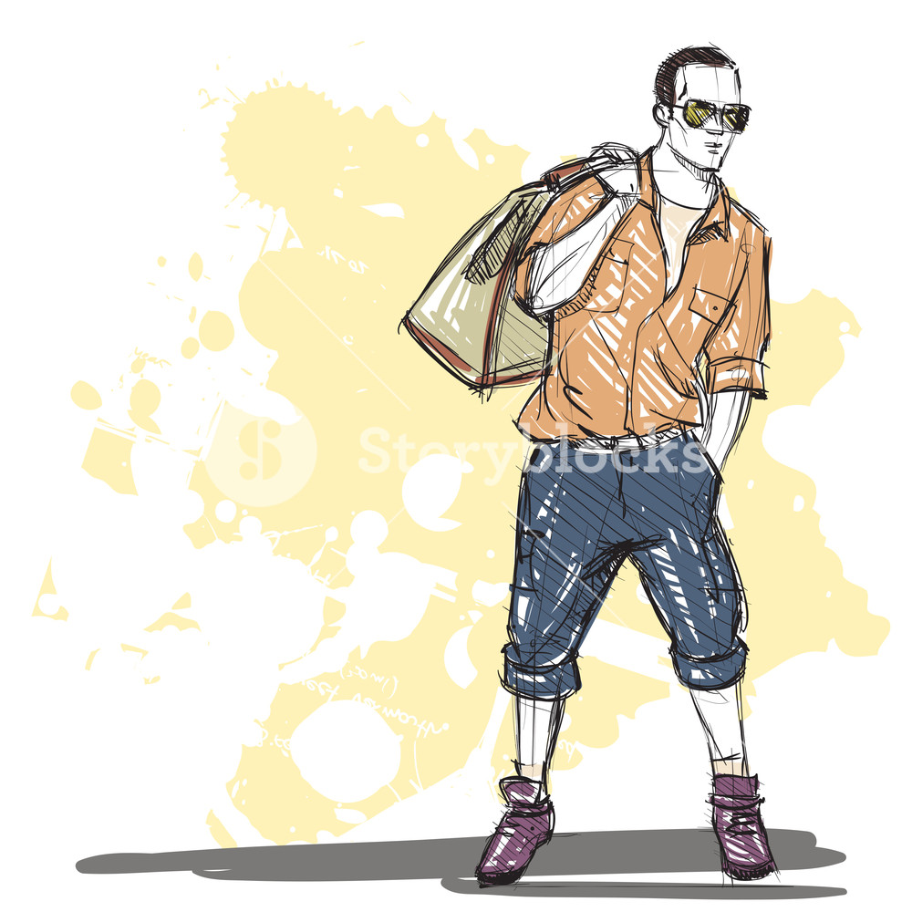 1000x1000 Hand Drawing Of A Stylish Boy In Sketch Style Vector Illustration