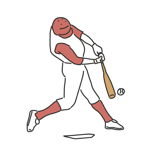 600x600 baseball player and softball player, line drawing hand drawn