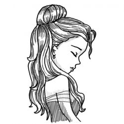 Drawing Of A Girl With Long Hair Tumblr Free Download On Clipartmag