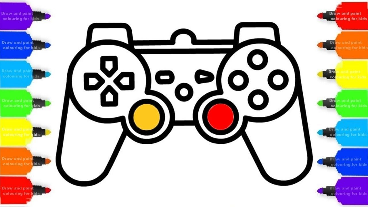 1280x720 how to draw gamepad, controller colorful for kids