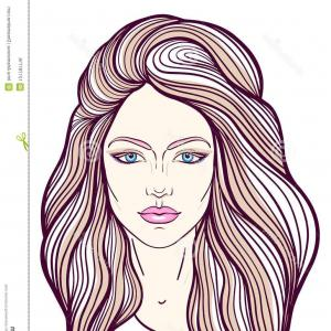 300x300 Beautiful Girl Face Long Hair Make Up Neutral Expression Hand