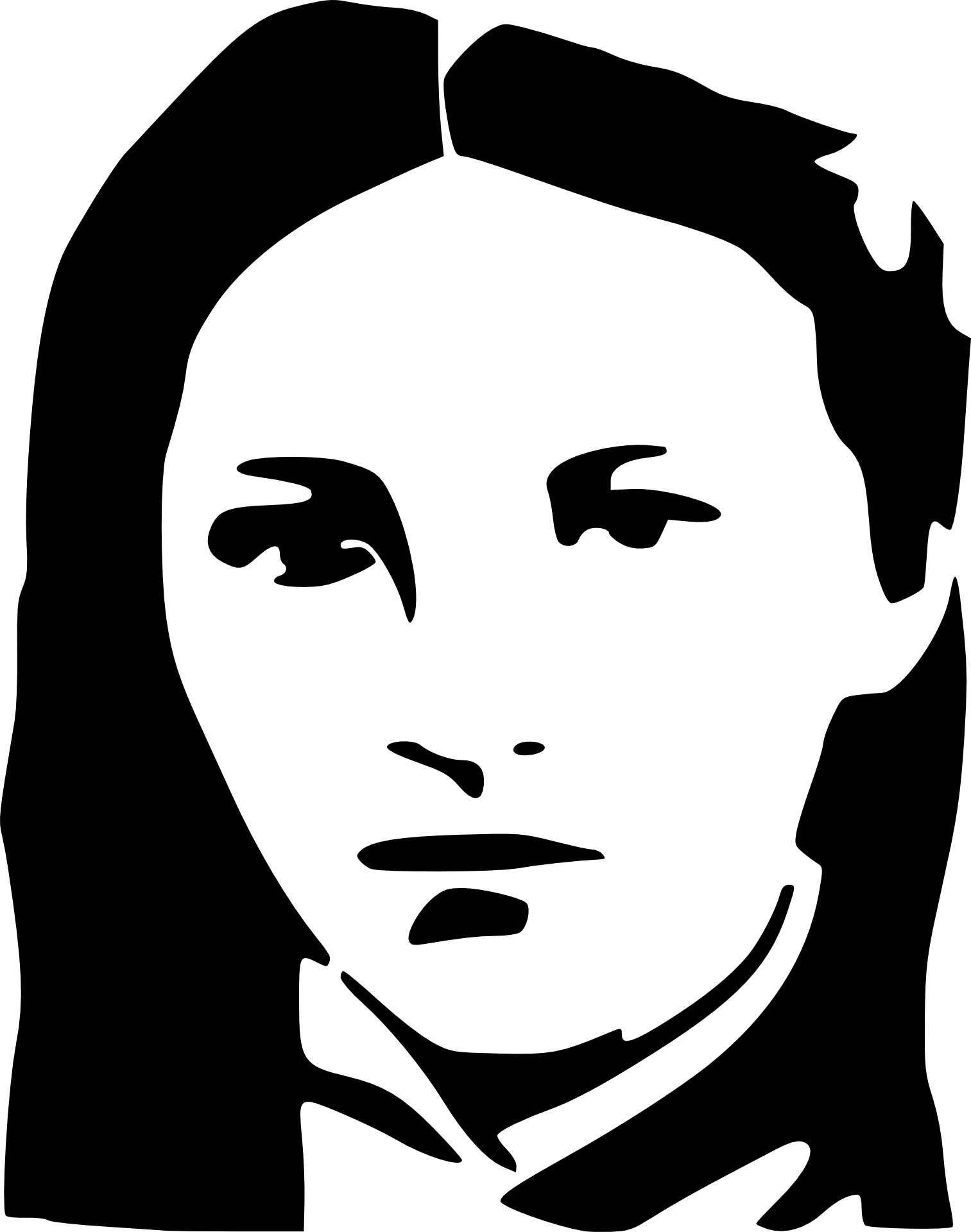 1513x1920 Black And White Drawing Of Young Woman's Face Free Image