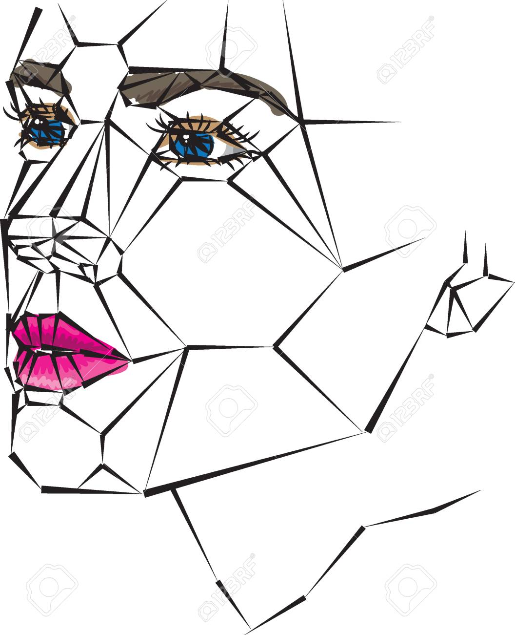 1056x1300 Huge Collection Of 'geometric Face Drawing' Download More Than