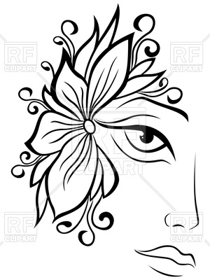 300x400 Part Of Abstract Black And White Women Face Vector Image Of People