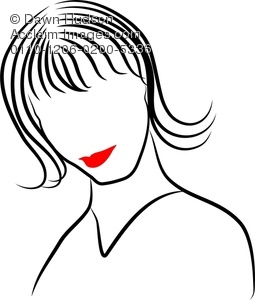 255x300 Simple Line Drawing Of A Portrait Of A Woman Clipart Illustration