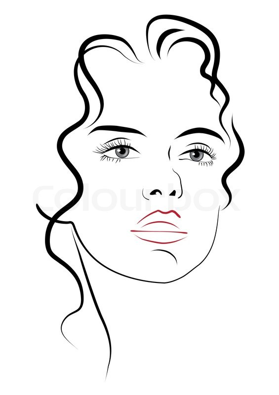 565x800 Young Woman's Face Stock Vector Colourbox
