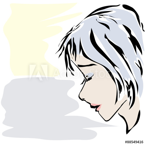 500x500 Sketch Of Calm Woman's Face With Closed Eyes