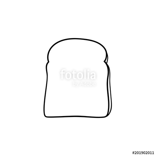 500x500 Whole Wheat Toast Bread Hand Drawn Outline Doodle Icon Slice