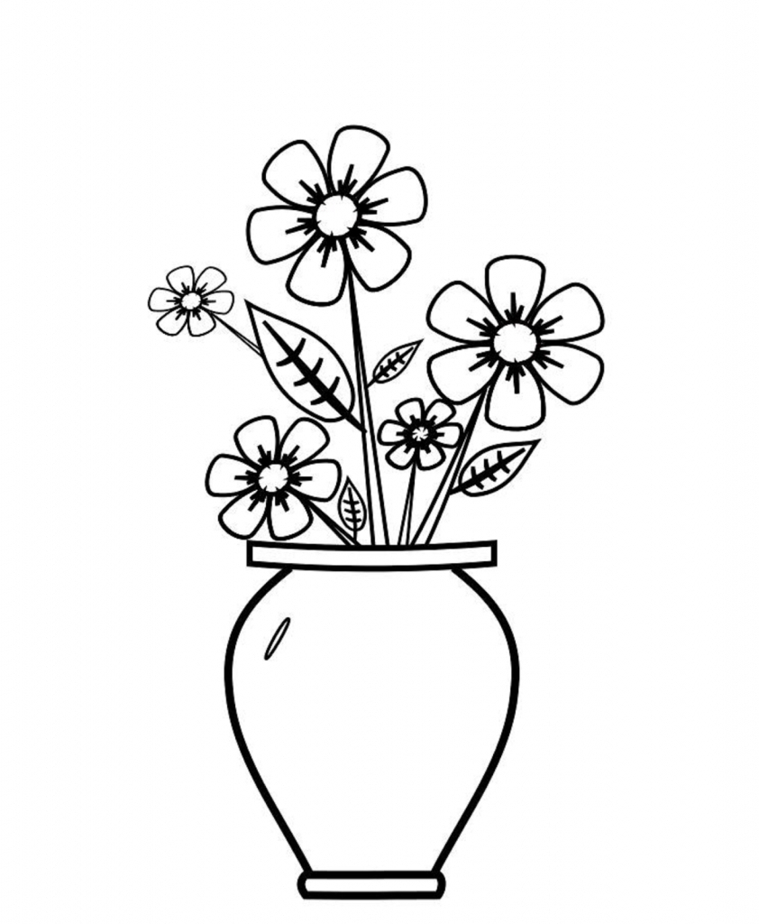 842x1024 flower vase image for drawing flowers in a vase drawing