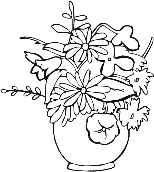 600x670 flowers in vase coloring pages flower vase how to draw flower vase