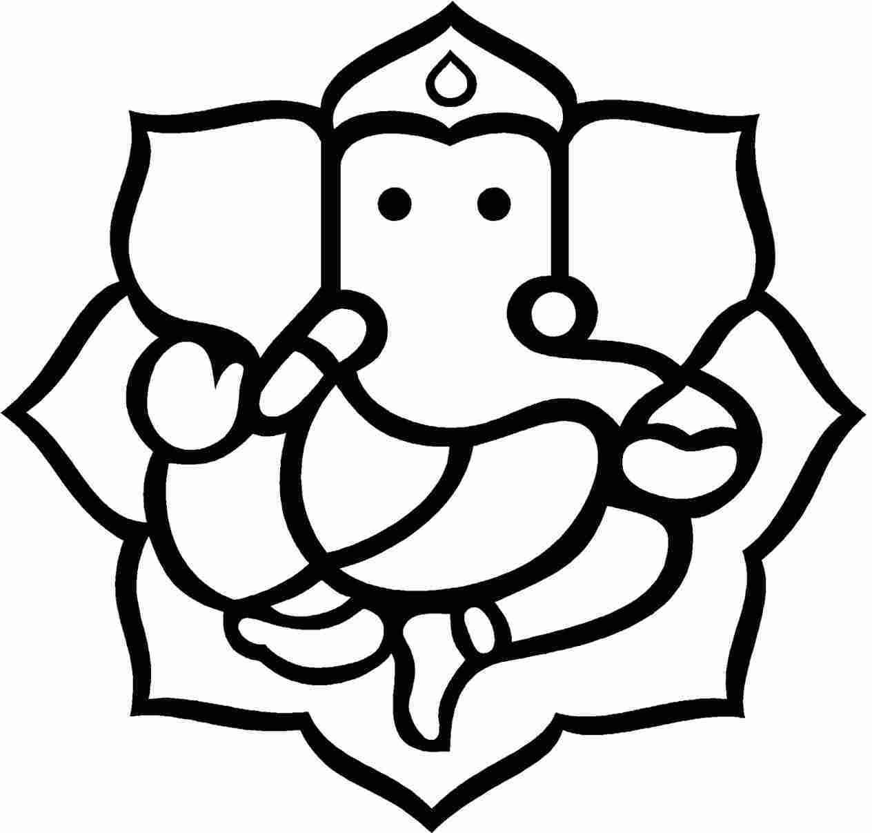 1264x1207 ganpati very easy drawing of ganesha sketches simple lord ganesh
