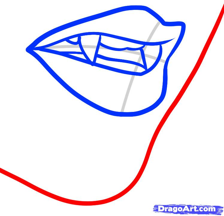 748x722 how to draw a vampire mouth, vampire mouth, step