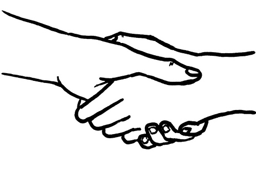 500x340 Two People Shaking Hands Drawing Clip Art