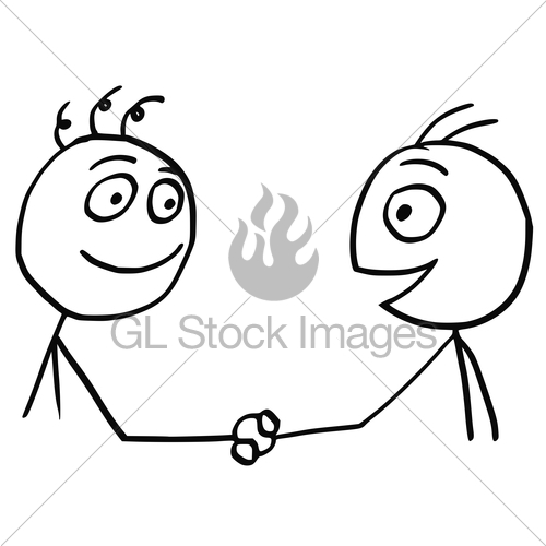 500x500 Vector Cartoon Of Two Men Shaking Their Hands Gl Stock Images