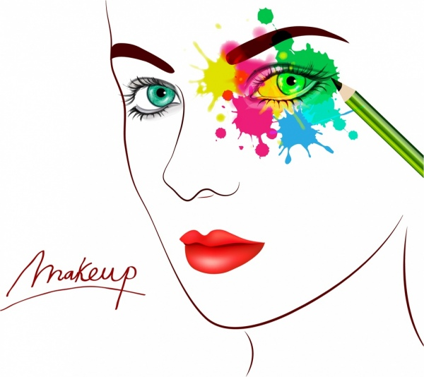 600x534 Makeup Banner Woman Face Sketch Water Color Ornament Free Vector