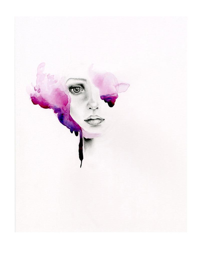 794x1021 Original Watercolor Painting Purple Painting Of A Girl Etsy