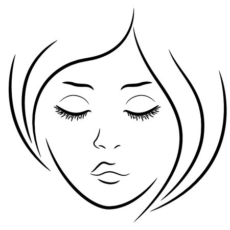 450x450 Woman Face With Closed Eyes, Hand Drawing Vector Outline Royalty