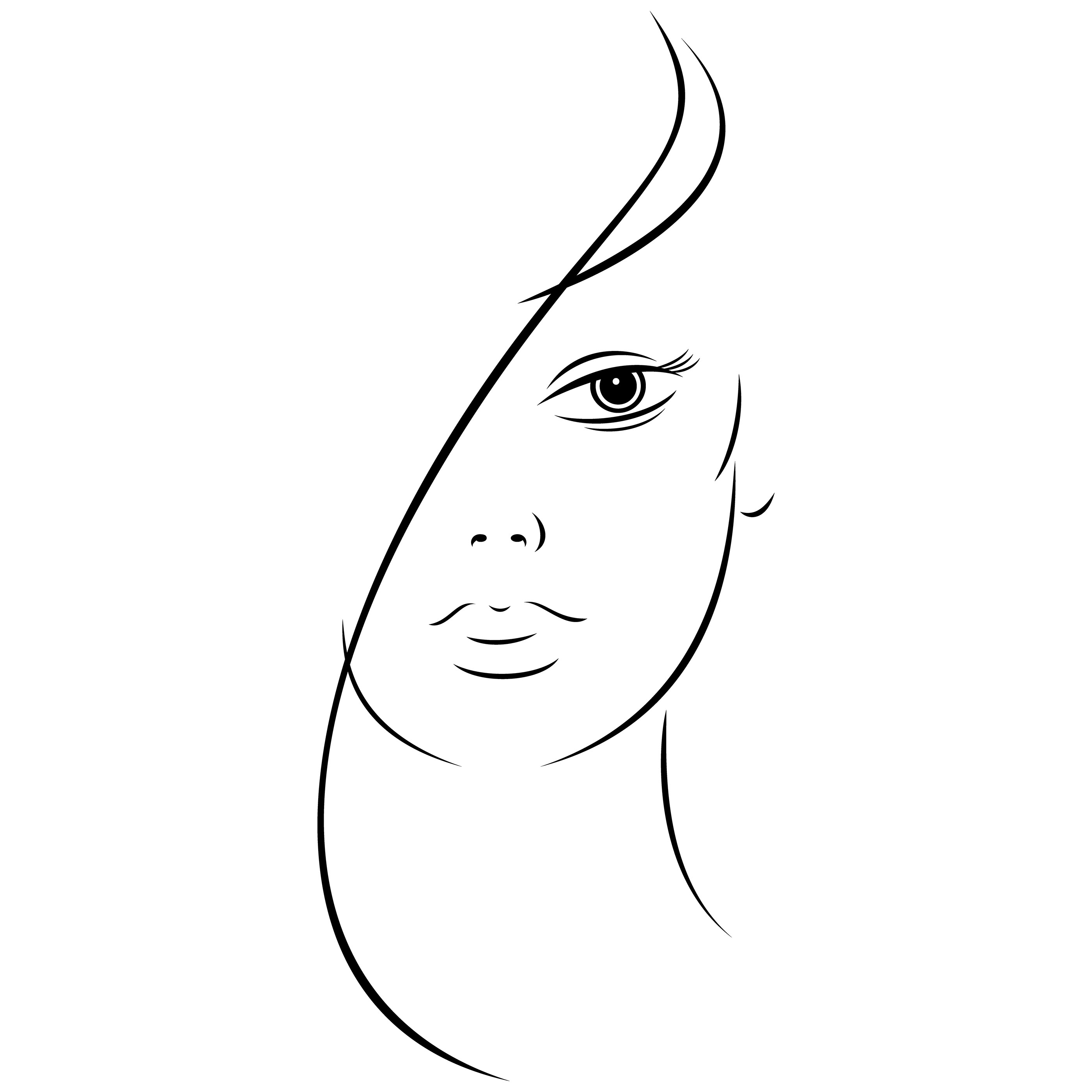2800x2800 Free Beautiful Young Woman Face Black Ink Sketch On Behance