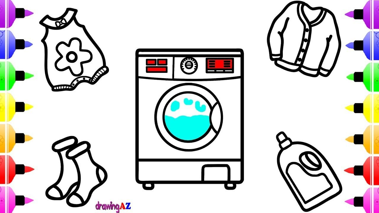 1280x720 How To Draw Electrolux Washing Machine For Kids Clothes