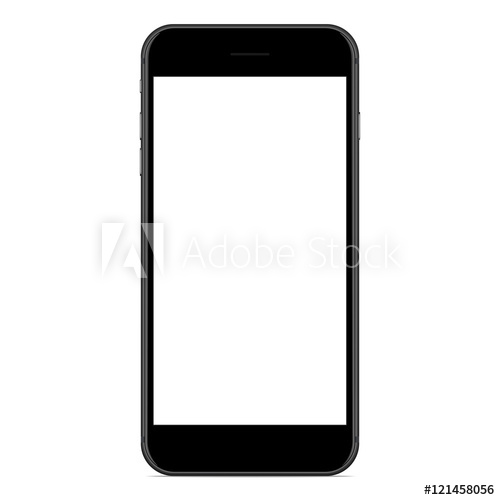 500x500 Vector Drawing Mockup Phone Matte Black Color On White Background