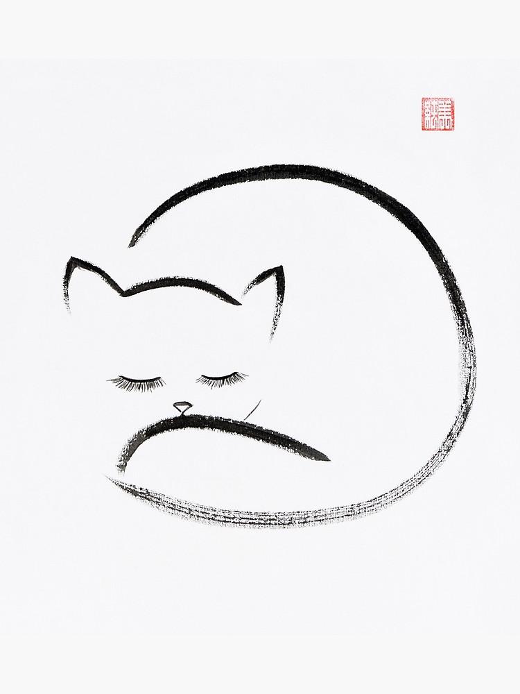 750x1000 Cute Cuddled Up Sleeping Cat Japanese Zen Sumi E Painting On White
