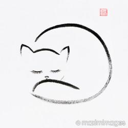 250x250 Image Of Cute Cuddled Up Sleeping Cat Japanese Zen Sumi E Painting