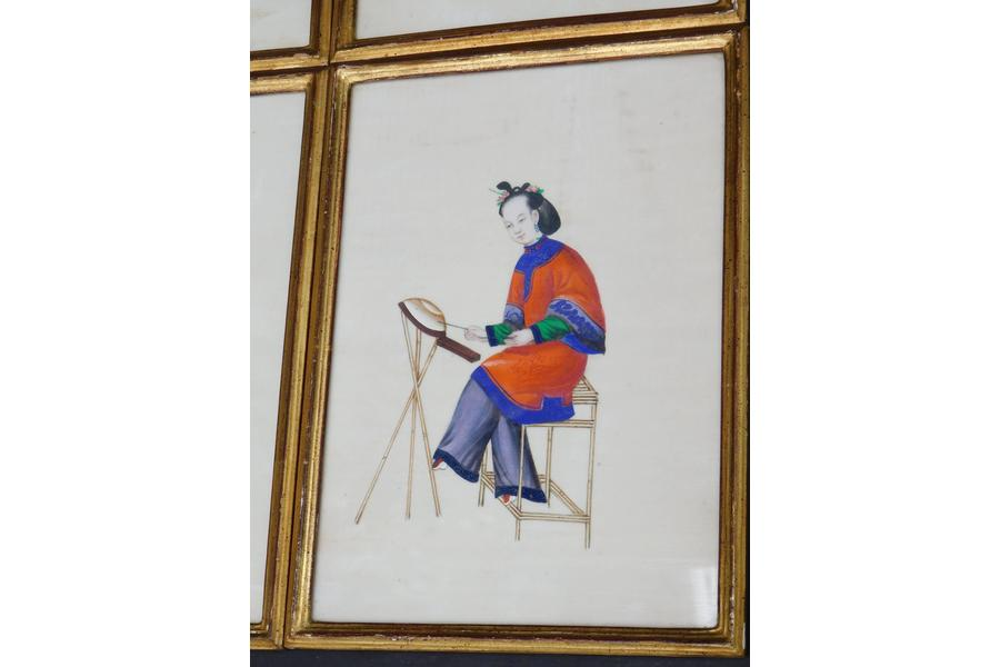 900x600 Six Chinese Paintings Of Noble Ladies On Rice Paper In Giltwood