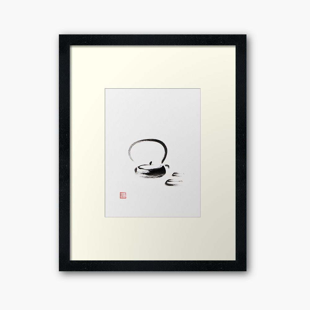 1000x1000 Teapot And Two Cups Japanese Zen Sumi E Painting On White Rice