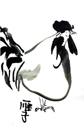 341x500 chinese ink painting original rooster ink painting