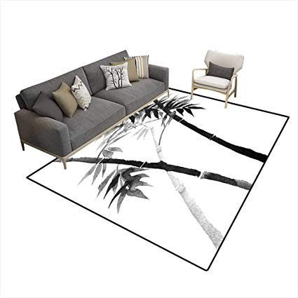 425x425 Extra Large Area Rug Bamboo Drawing On Rice Paper Wi