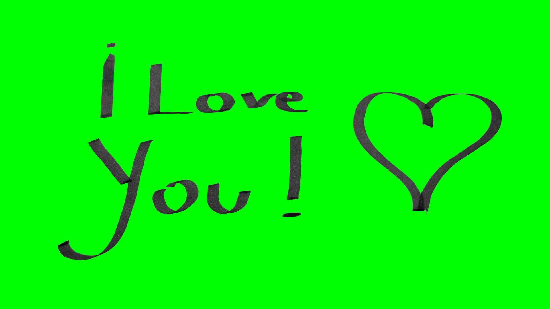 1920x1080 Green Screen Animation Calligraphy Writing I Love You And Drawing