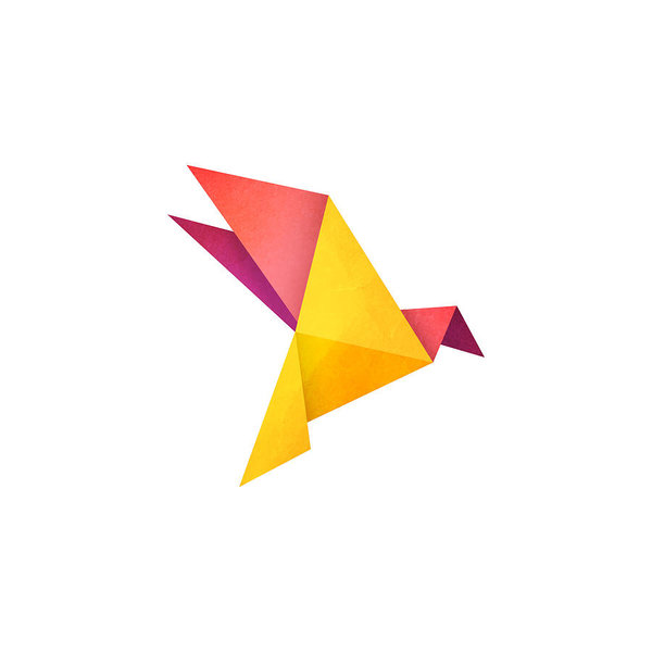 600x600 Origami Bird Design Paper Texture Effect Art Print
