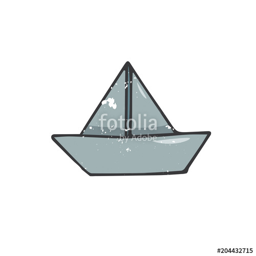 500x500 Paperboat Illustration Drawing Shabby Style Geometric Element Blue