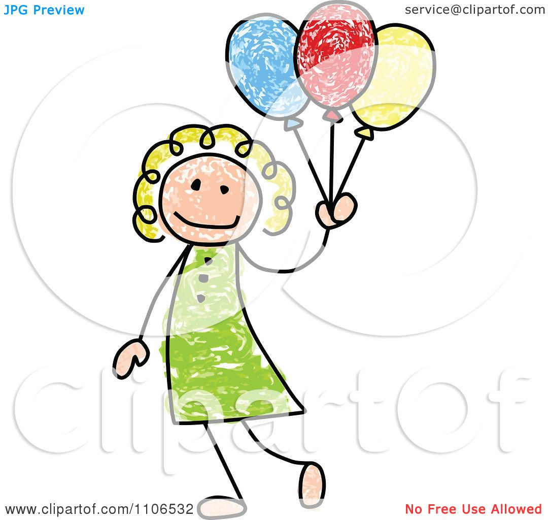 1080x1024 Clipart Stick Drawing Of A Happy White Girl With Party Balloons
