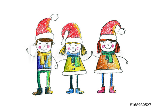 500x354 Cute School Or Kindergarten Children Wearing Christmas Hats Kids