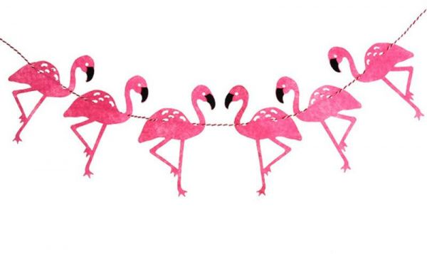 600x357 Hawaiian Style Flamingo Pattern Birthday Party Decoration Set