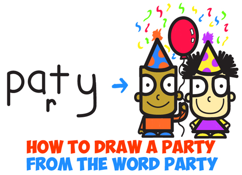 500x361 How To Draw Cartoon Kids Partying From The Word Party In Easy