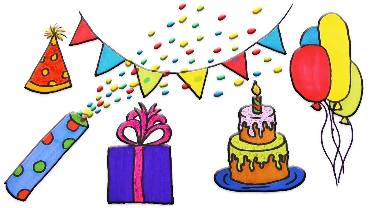 1280x720 How To Draw Happy Birthday Party Coloring And Drawing For Kids