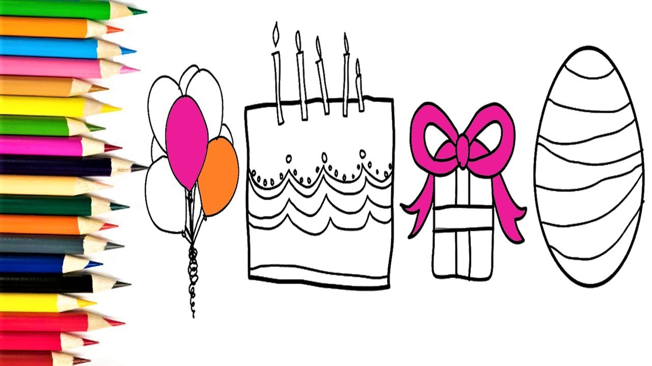 1280x720 How To Draw A Birthday Party Set For Kids Coloring Pages Cake