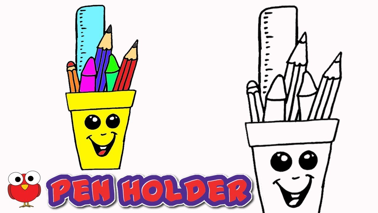 1280x720 How To Draw Cute Pen Holder For Kids Step