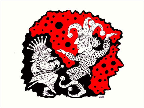 549x413 King And Joker Surreal Black And White And Red Pen Ink Drawing