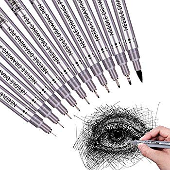 350x350 Black Micron Pen Set, Archival Ink Waterpoof Art