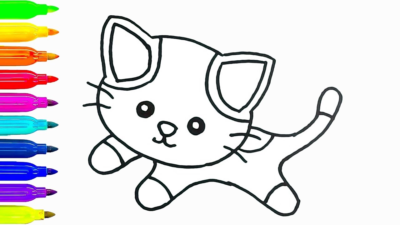 1280x720 Baby Cat Drawing And Coloring For Kids How To Draw Animals Learn