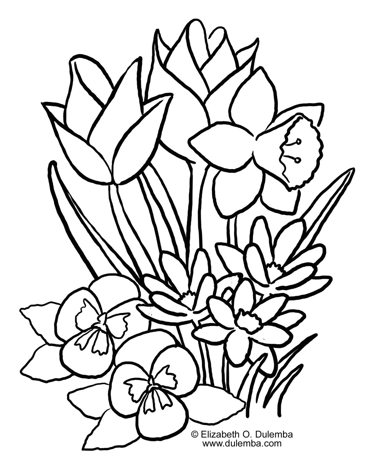 1244x1600 Drawing Of Spring Flowers Troller Us