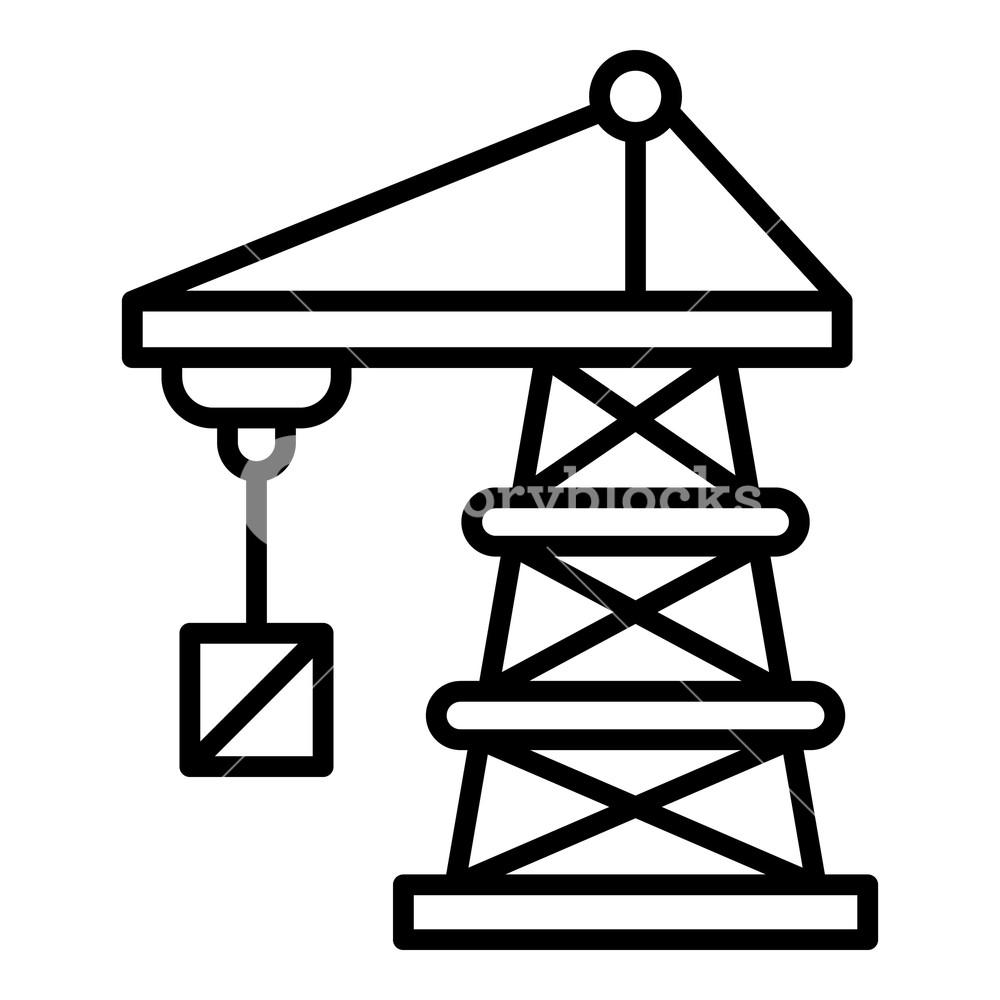 1000x1000 port crane icon outline port crane vector icon for web design
