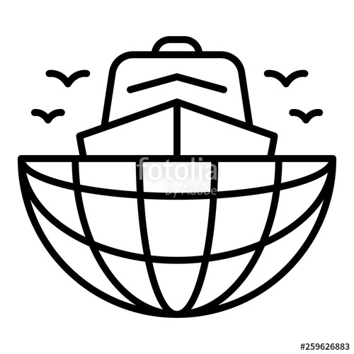 500x500 ship in global port icon outline ship in global port vector icon