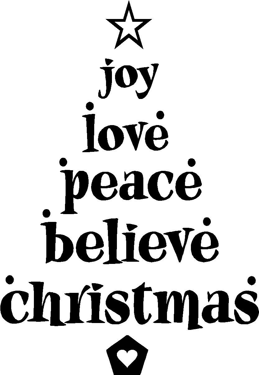 833x1205 Joy Love Peace Believe Christmas Cute Vinyl Wall