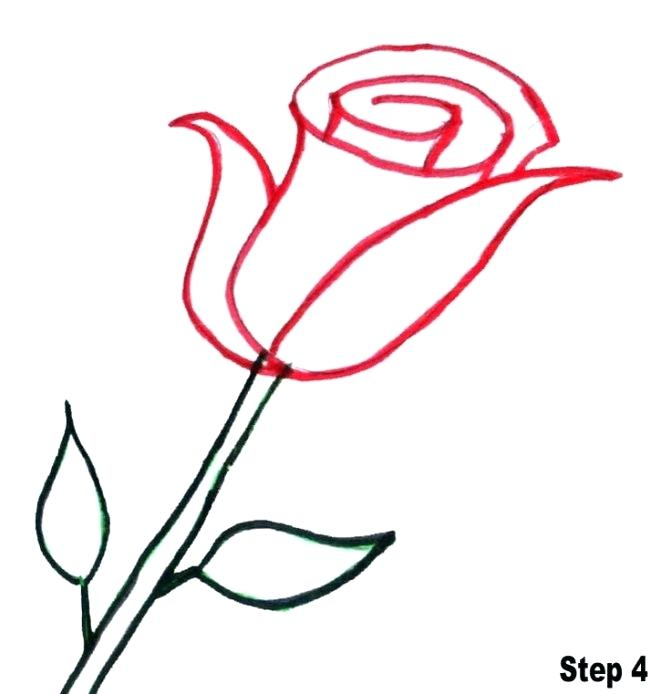 671x694 Simple Sketch Of A Rose Contour Rose Flower Black And White Doodle