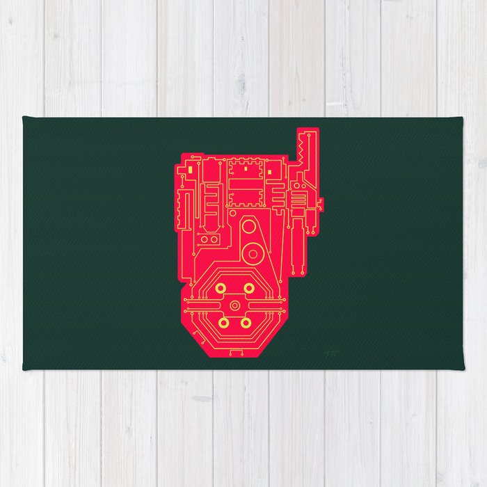 700x700 circuit drawing of a proton pack rug